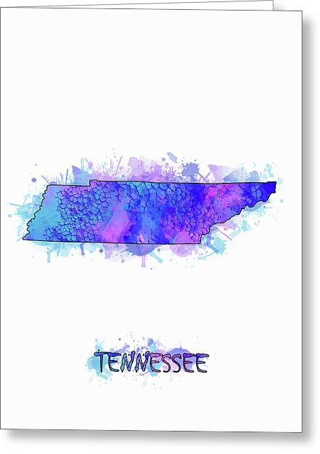 Tennessee Map Watercolor 2 Greeting Card