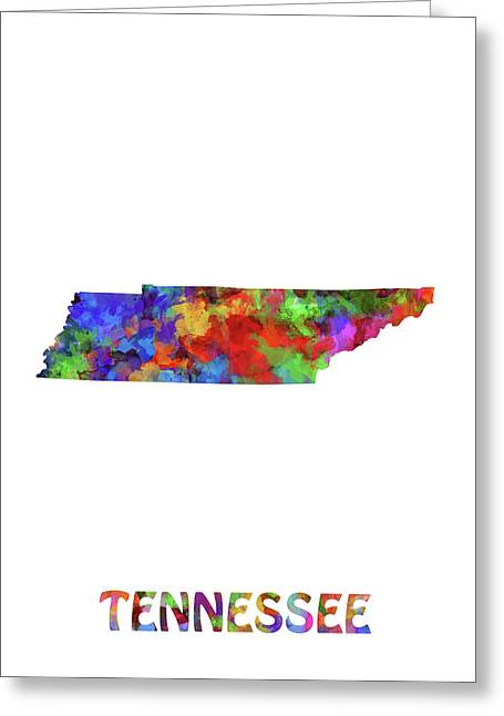 Tennessee Map Watercolor Greeting Card