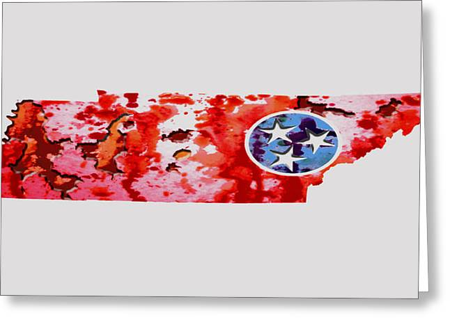 Tennessee Paint Splatter Greeting Card by Brian Reaves