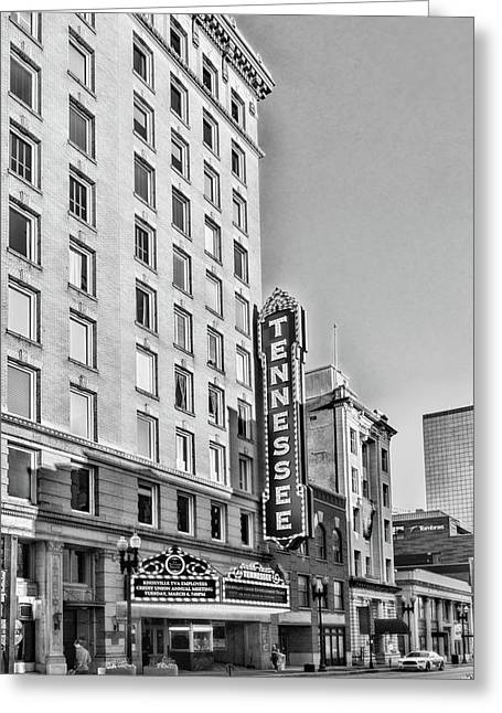 Tennessee Theatre Marquee Building Black And White Greeting Card
