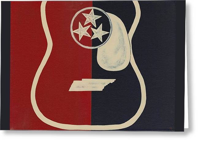 Tennessee Tri Star Guitar Greeting Card by Helen Prater