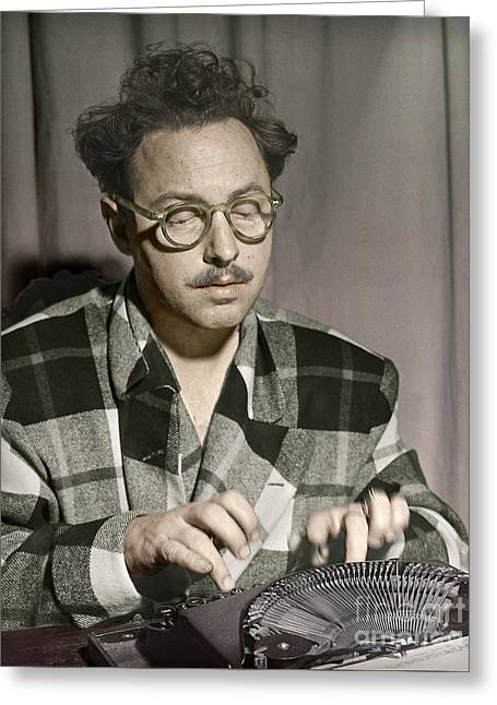 Tennessee Williams At His Typewriter Greeting Card by Martin Konopacki Restoration