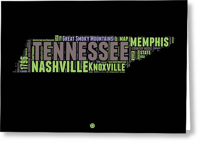 Tennessee Word Cloud Map 1 Greeting Card by Naxart Studio