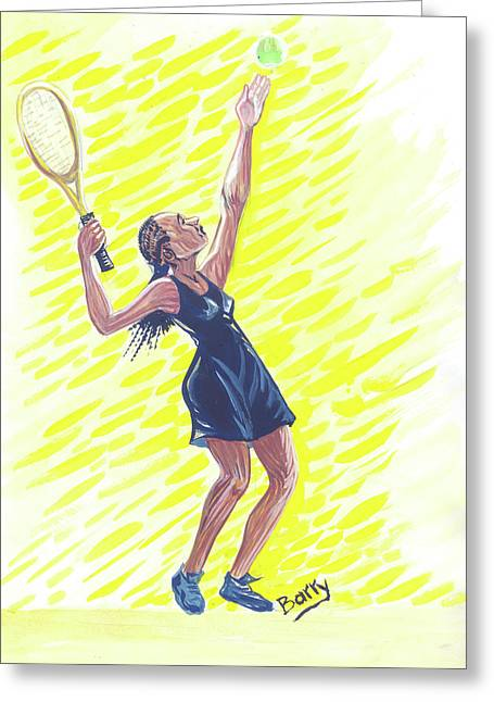 Tennis 01 Greeting Card by Emmanuel Baliyanga