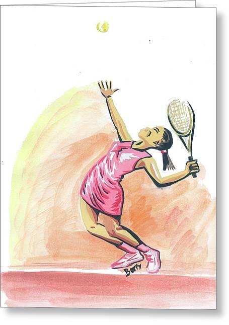 Tennis 03 Greeting Card by Emmanuel Baliyanga