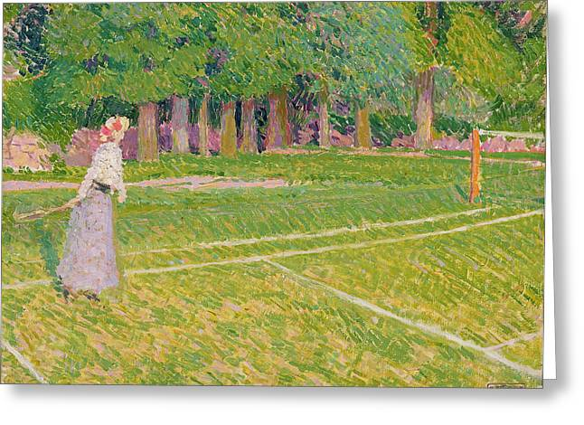 Racquet Paintings Greeting Cards - Tennis at Hertingfordbury Greeting Card by Spencer Frederick Gore