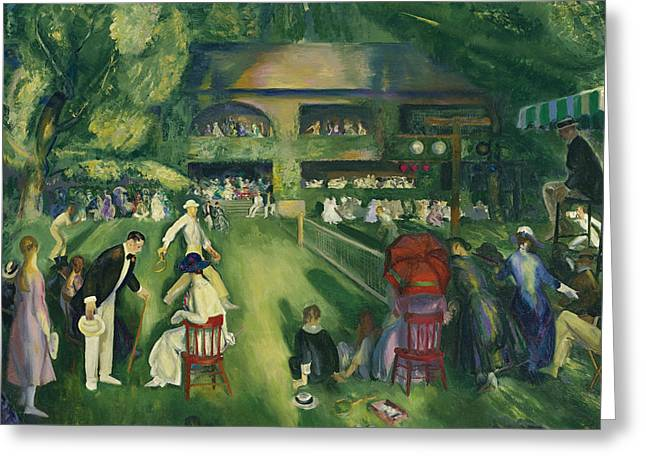 Tennis At Newport Greeting Card by George Bellows