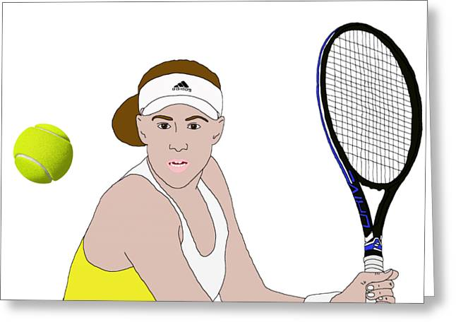 Tennis Ball Focus Greeting Card by Priscilla Wolfe