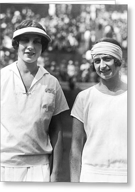 Tennis Champion Helen Wills Greeting Card by Underwood Archives