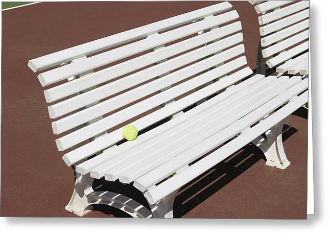 Park Benches Greeting Cards - Tennis Court Benches Greeting Card by Skip Nall