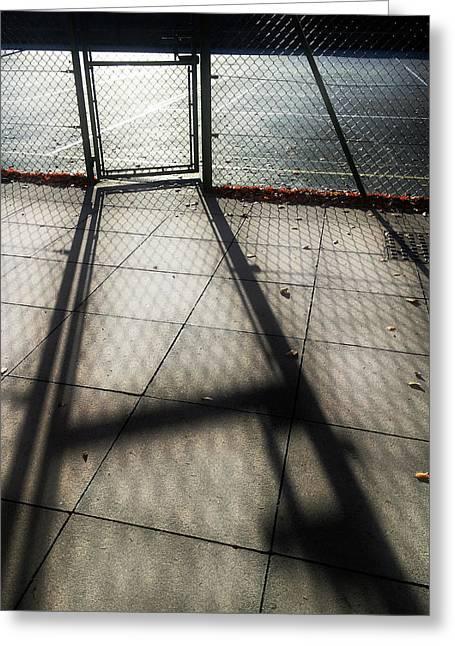 Tennis Court Shadows Greeting Card by Tom Gowanlock