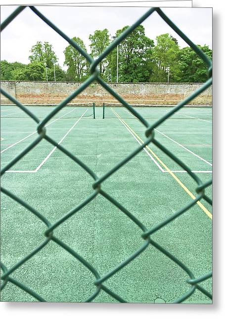 Tennis Court Greeting Card by Tom Gowanlock