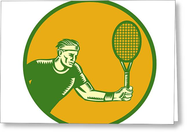 Tennis Player Forehand Circle Woodcut Greeting Card by Aloysius Patrimonio