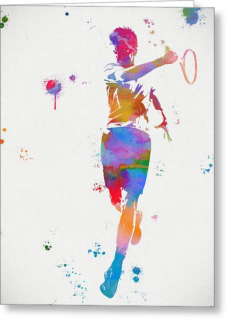 Tennis Player Paint Splatter Greeting Card by Dan Sproul