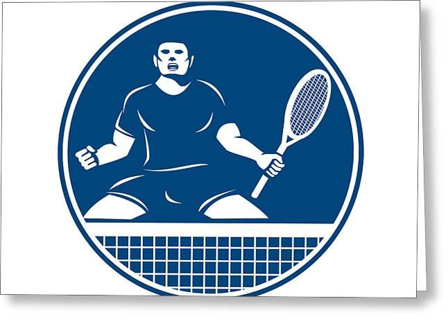 Tennis Player Racquet Fist Pump Icon Greeting Card by Aloysius Patrimonio