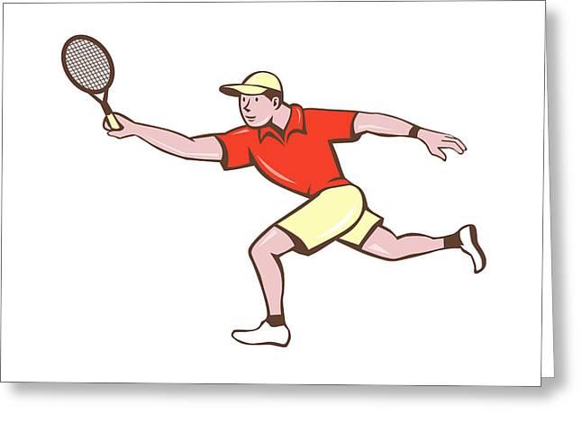 Tennis Player Racquet Forehand Cartoon Greeting Card by Aloysius Patrimonio