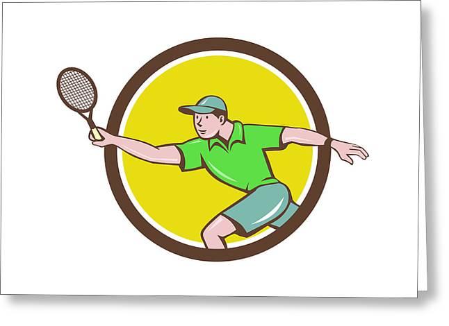 Tennis Player Racquet Forehand Circle Cartoon Greeting Card by Aloysius Patrimonio