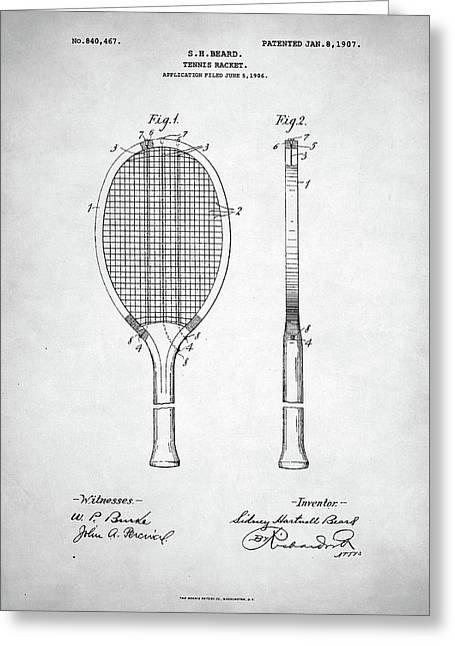 Tennis Racket Patent 1907 Greeting Card