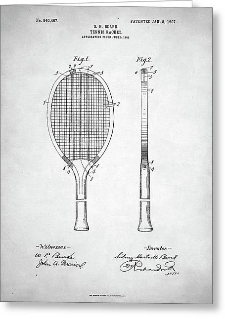 Tennis Racket Patent 1907 Greeting Card