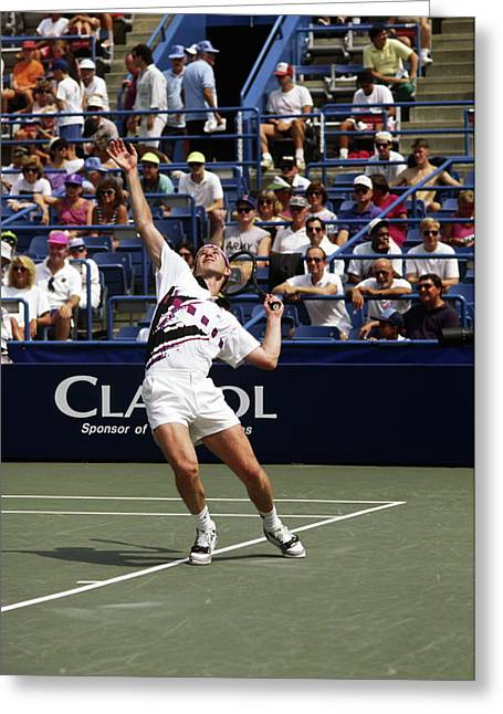 Tennis Serve Greeting Card by Sally Weigand