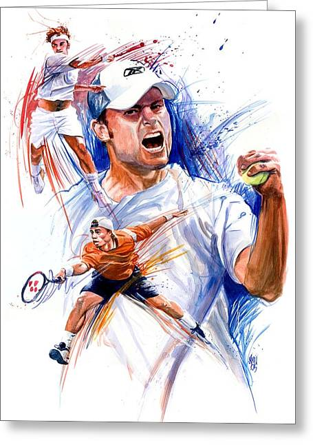 Lleyton Hewitt Greeting Cards - Tennis snapshot Greeting Card by Ken Meyer jr