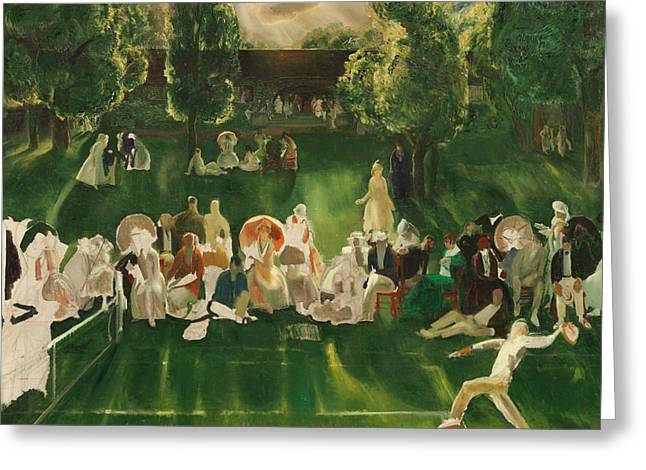 Tennis Tournament Greeting Card by George Bellows
