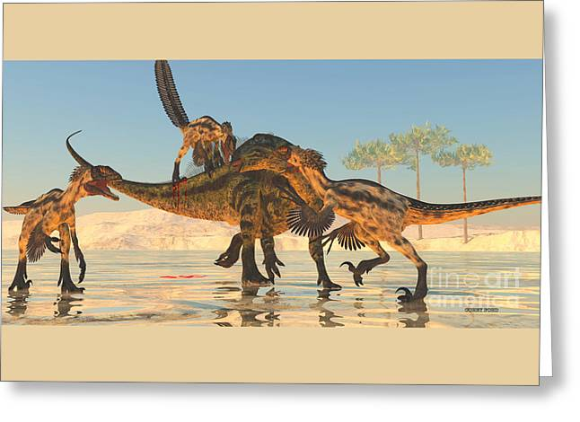Tenontosaurus Attack Greeting Card by Corey Ford