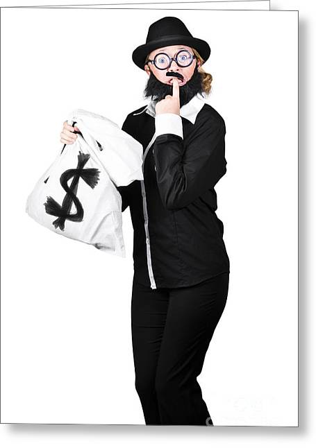 Tensed Woman Holding Money Bag Greeting Card by Jorgo Photography - Wall Art Gallery