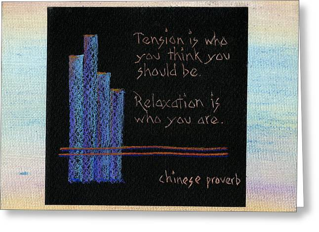 Tension Is...in Orange And Blue Greeting Card by Andrea Swope