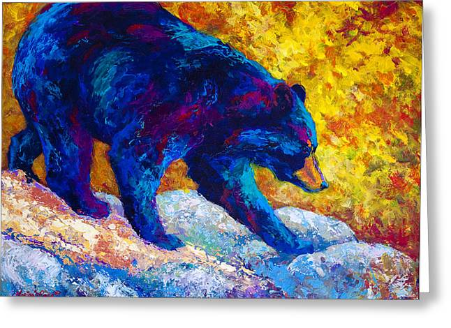 Tentative Step - Black Bear Greeting Card
