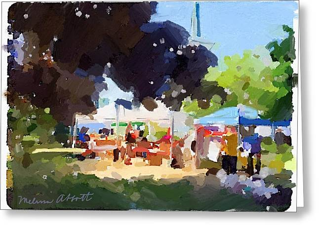 Tents And Church Steeple At Rockport Farmers Market Greeting Card