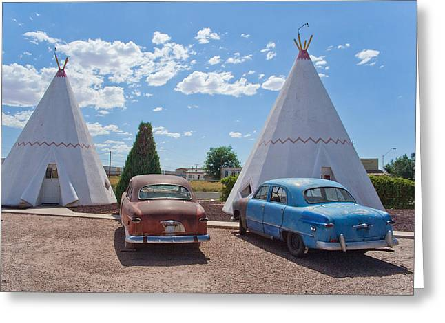 Tepee With Old Cars Greeting Card by Matthew Bamberg