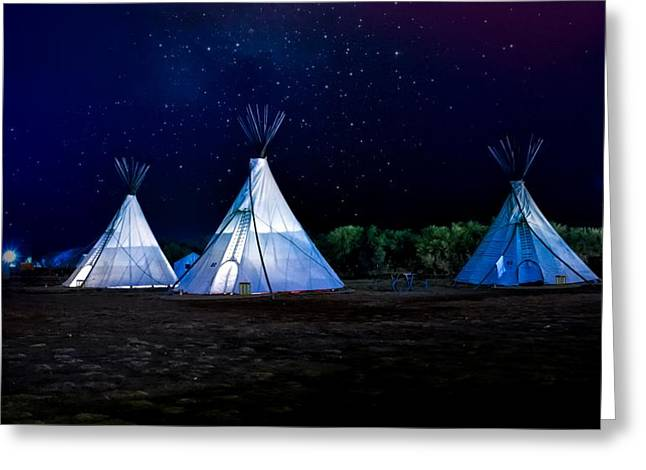 Tepees Under The Stars Greeting Card by Mountain Dreams