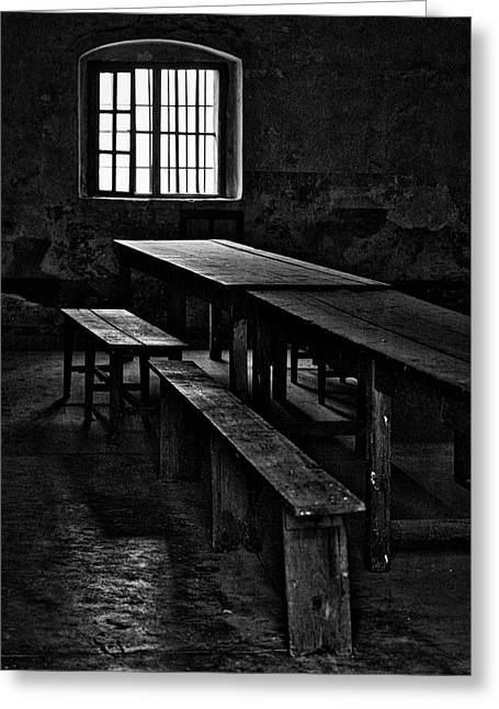 Terezin Tables, Benches And Window Greeting Card