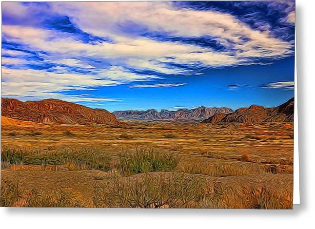 Terlingua Desert Painted Greeting Card by Judy Vincent