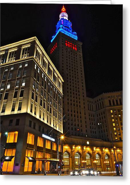 Terminal Tower And Casino Greeting Card by Frozen in Time Fine Art Photography