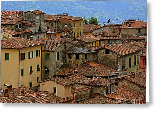 Terra-cotta Roofs Barga Vecchia Italy Greeting Card by Nicola Fiscarelli