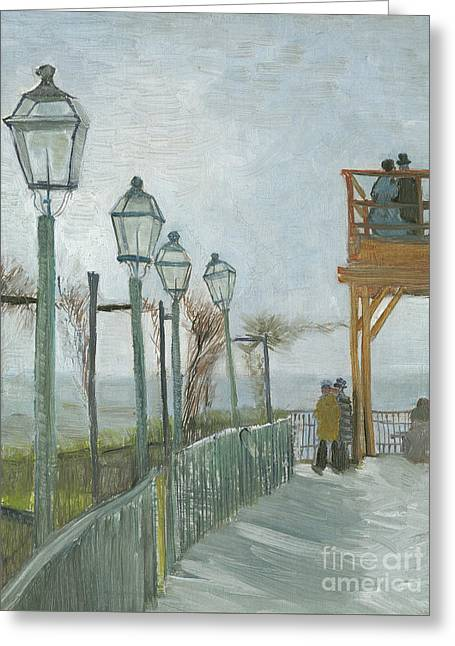 Terrace And Observation Deck At The Moulin De Blute Fin Greeting Card by Vincent Van Gogh