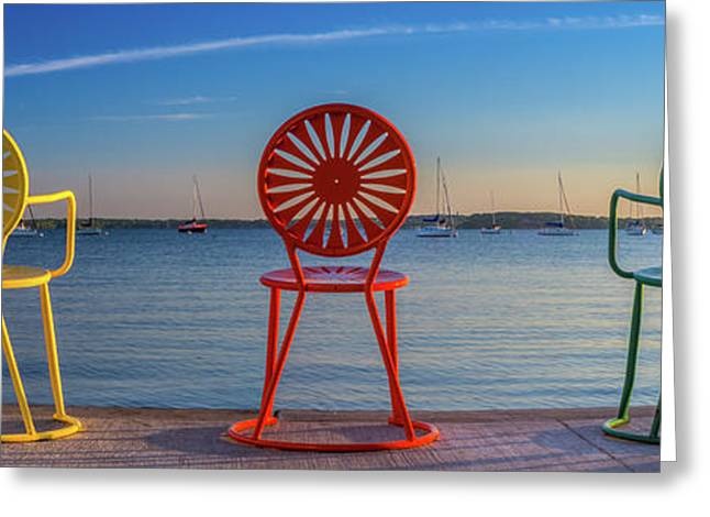 Terrace Chairs Panoramic Greeting Card