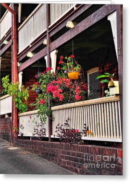 Terrace House With Flowers Greeting Card