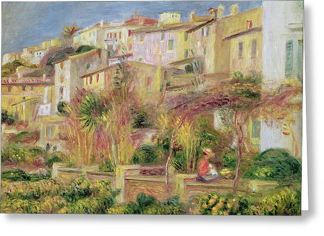 Terrace In Cagnes Greeting Card by Pierre Auguste Renoir