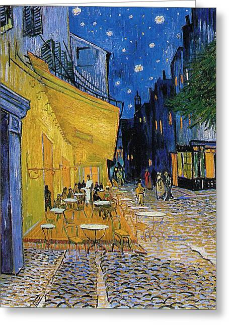 Terrace Of A Cafe At Night, Place Du Forum Greeting Card by Vincent van Gogh