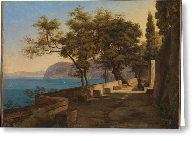 Terrace Of The Capuchin Garden Greeting Card by Heinrich Reinhold