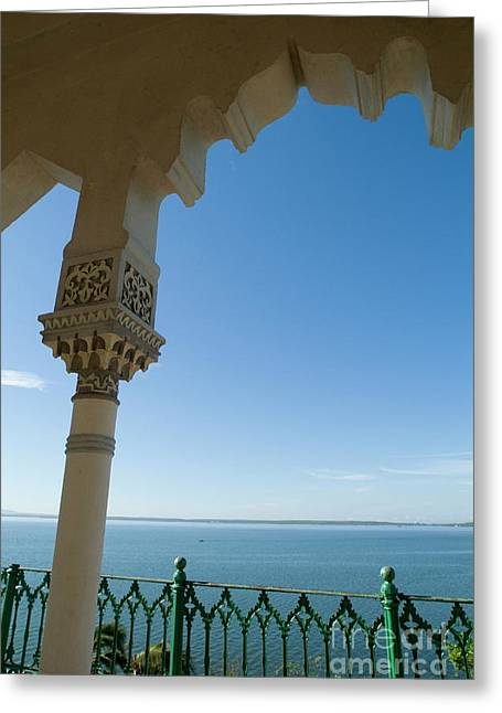 Terrace With A View Of The Sea On Top Of The Palacio De Valle Greeting Card by Sami Sarkis