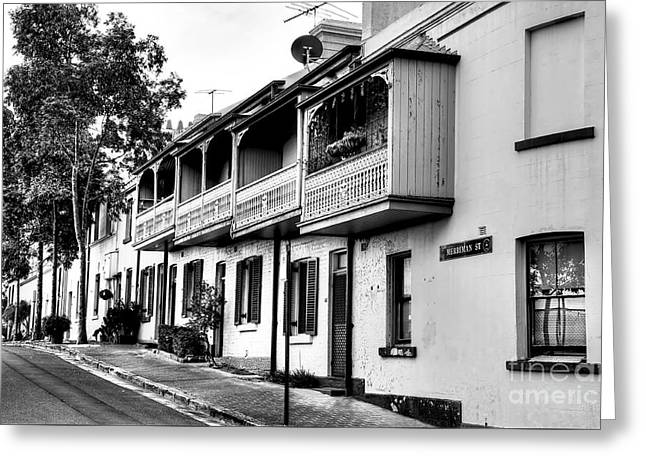 Terraced Houses - Black And White By Kaye Menner Greeting Card