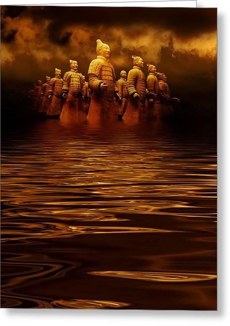 Terracotta Army Greeting Card by Heinz Dieter Falkenstein