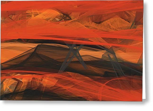 Terracotta Orange Modern Abstract Art Greeting Card by Lourry Legarde