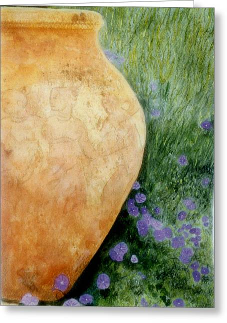 Terracotta Urn Greeting Card by Jan Amiss