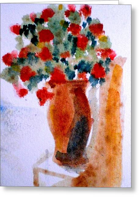 Terracotta Vase And Flowers Greeting Card by Maria Rosaria DAlessio