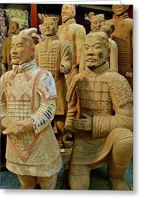 Ceramic Sculpture Greeting Cards - Terracotta Warriors Greeting Card by Dorota Nowak